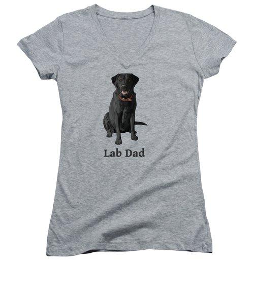 Black Labrador Retriever Lab Dad Women's V-Neck (Athletic Fit)