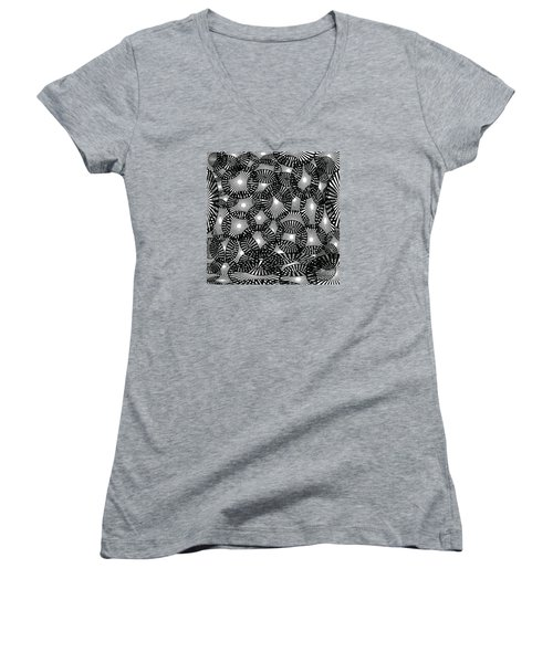 Black Lace Abstract Women's V-Neck T-Shirt