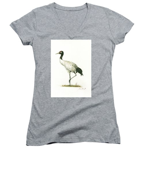 Black Necked Crane Women's V-Neck (Athletic Fit)