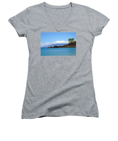 Black Rock Beach And Lanai Women's V-Neck (Athletic Fit)