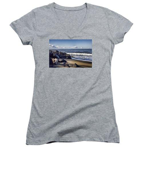 Black Sand Beach  Women's V-Neck T-Shirt (Junior Cut) by Douglas Barnard