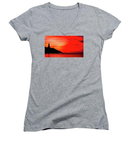 Black Sea Turned Red Women's V-Neck T-Shirt (Junior Cut) by Reksik004
