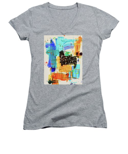 Black Sheep Women's V-Neck T-Shirt (Junior Cut) by Jeanette French