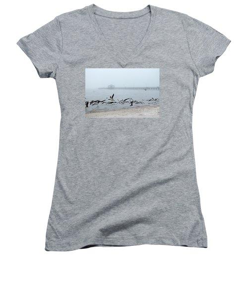 Black Skimmers - Biloxi Mississippi Women's V-Neck T-Shirt (Junior Cut) by Scott Cameron