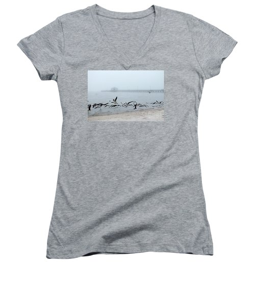 Black Skimmers - Biloxi Mississippi Women's V-Neck (Athletic Fit)