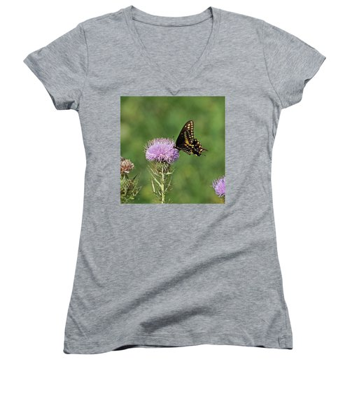 Women's V-Neck T-Shirt (Junior Cut) featuring the photograph Black Swallowtail Butterfly by Sandy Keeton