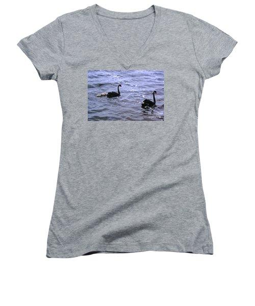 Black Swan Family Women's V-Neck T-Shirt (Junior Cut) by Cassandra Buckley