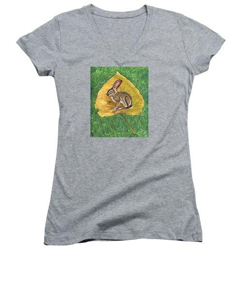 Black Tail Jack Rabbit  Women's V-Neck T-Shirt (Junior Cut) by Ralph Root