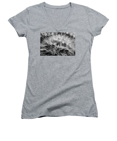 Black Widow Dandelion Women's V-Neck T-Shirt (Junior Cut) by Iris Greenwell