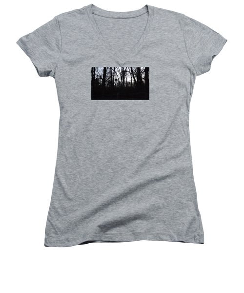 Women's V-Neck T-Shirt (Junior Cut) featuring the photograph Black Woods by Don Koester