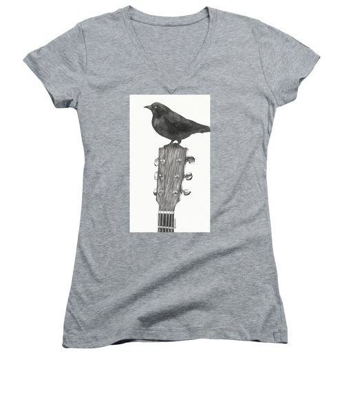 Women's V-Neck T-Shirt (Junior Cut) featuring the drawing Blackbird Solo  by Meagan  Visser