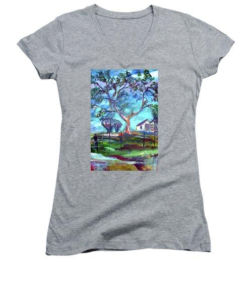 Blanco Texas Ranch House Women's V-Neck T-Shirt