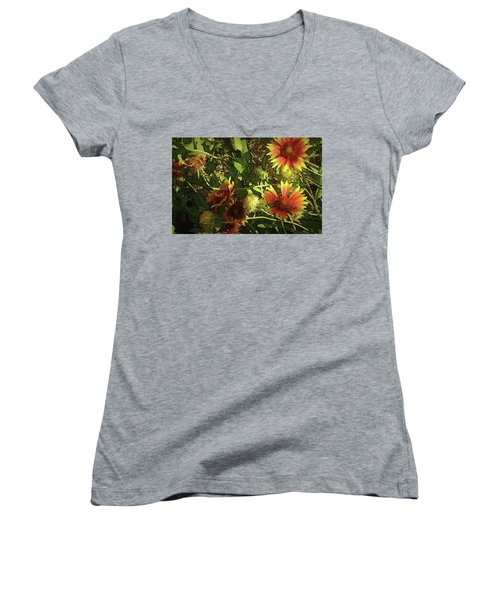 Women's V-Neck T-Shirt (Junior Cut) featuring the photograph Blanket Flower by Donna G Smith