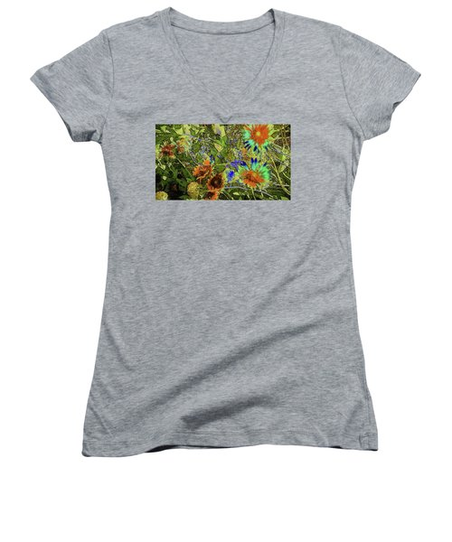 Women's V-Neck T-Shirt (Junior Cut) featuring the photograph Blanket Flower II by Donna G Smith