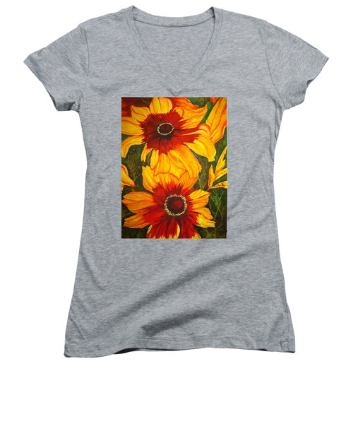 Women's V-Neck T-Shirt (Junior Cut) featuring the painting Blanket Flower by Lil Taylor