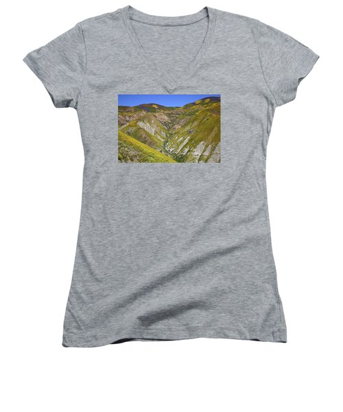 Blanket Of Wildflowers Cover The Temblor Range At Carrizo Plain National Monument Women's V-Neck (Athletic Fit)