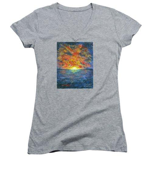 Blazing Glory Women's V-Neck T-Shirt (Junior Cut) by Laurie Morgan