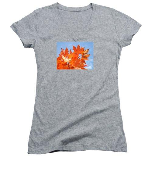 Blazing Maple Women's V-Neck T-Shirt
