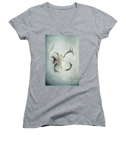 Women's V-Neck T-Shirt (Junior Cut) featuring the photograph Bleached Stag Skull by Stephanie Frey