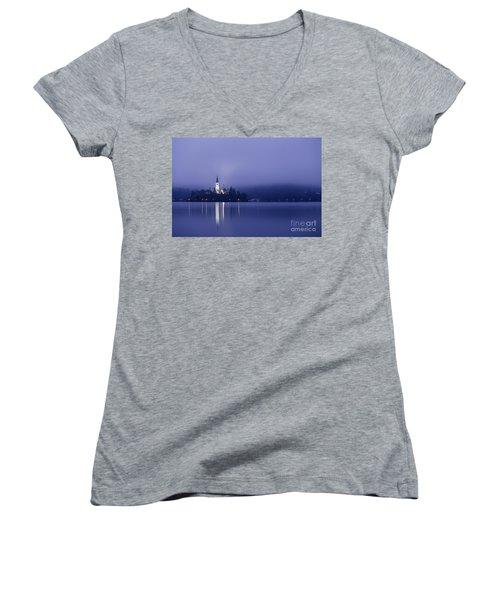 Bled Slovenia Women's V-Neck T-Shirt (Junior Cut) by Mariusz Czajkowski