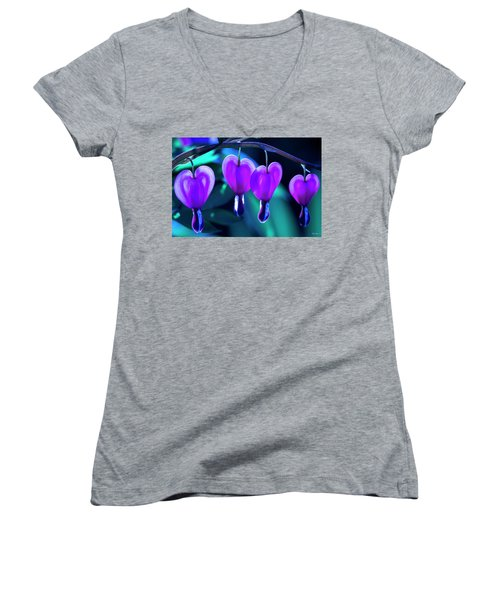 Women's V-Neck T-Shirt (Junior Cut) featuring the photograph Bleeding Hearts In Moon Light by Skip Tribby