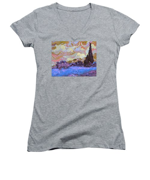 Blend 20 Van Gogh Women's V-Neck T-Shirt (Junior Cut) by David Bridburg