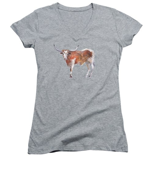 Bless Your Heart Of Texas Longhorn A Watercolor Longhorn Painting By Kathleen Mcelwaine Women's V-Neck T-Shirt