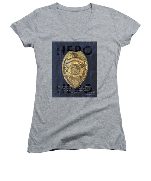 Blessed Are The Peacemakers Women's V-Neck T-Shirt (Junior Cut) by Debbie DeWitt
