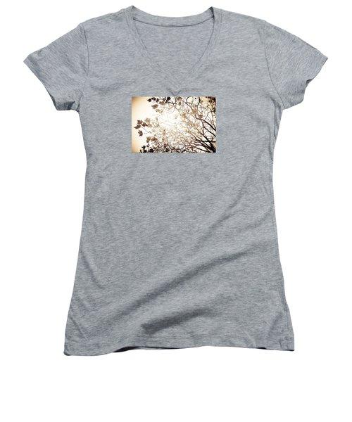 Blinding Sun Women's V-Neck T-Shirt (Junior Cut) by Lora Lee Chapman