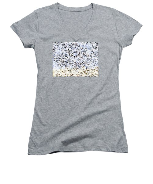 Women's V-Neck T-Shirt featuring the digital art Blizzard Homage To Jackson by Walter Fahmy
