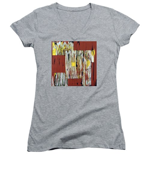 Women's V-Neck T-Shirt (Junior Cut) featuring the painting Block Dance by Pat Purdy