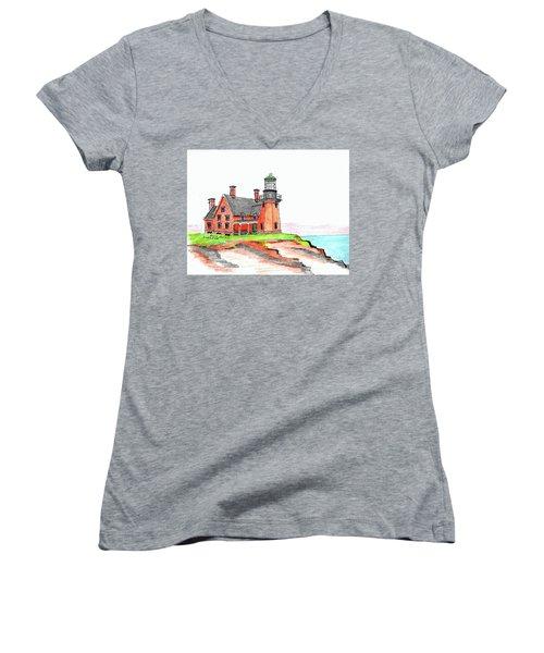 Block Island South Lighthouse Women's V-Neck T-Shirt (Junior Cut) by Paul Meinerth