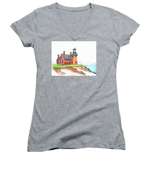 Block Island South Lighthouse Women's V-Neck T-Shirt