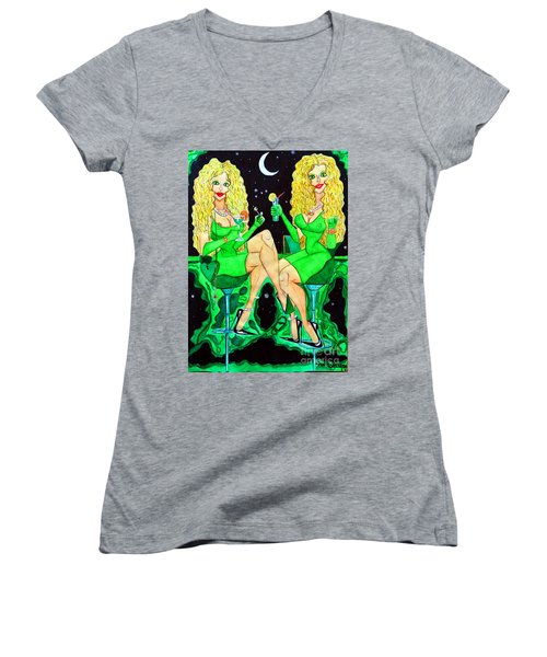 Blond Girls At Disco Women's V-Neck T-Shirt