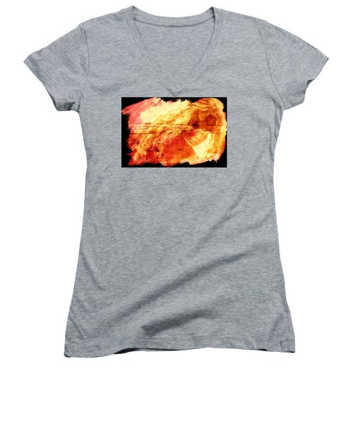 Blonde On Red Fire Women's V-Neck (Athletic Fit)