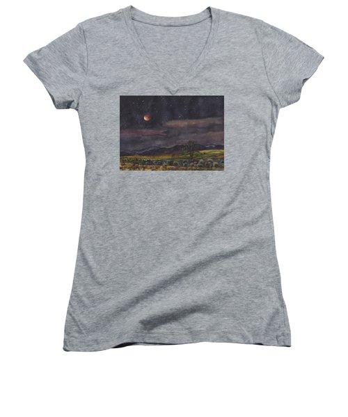 Blood Moon Over Boulder Women's V-Neck T-Shirt