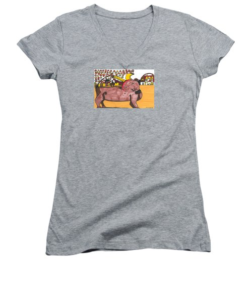Women's V-Neck T-Shirt (Junior Cut) featuring the painting Blood Of The Bull by Don Koester