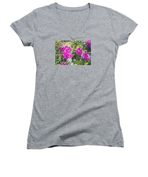 Blooming Azalea's Women's V-Neck T-Shirt (Junior Cut) by Allan Levin