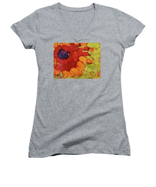 Women's V-Neck T-Shirt (Junior Cut) featuring the painting Blooming Cactus by Cynthia Powell