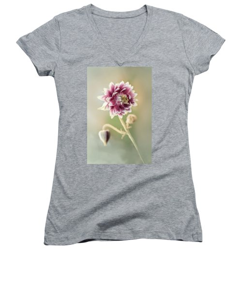 Blooming Columbine Flower Women's V-Neck (Athletic Fit)
