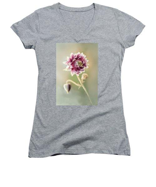 Blooming Columbine Flower Women's V-Neck