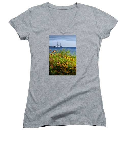 Blooming Flowers By The Bridge At The Straits Of Mackinac Women's V-Neck T-Shirt (Junior Cut) by Randall Nyhof