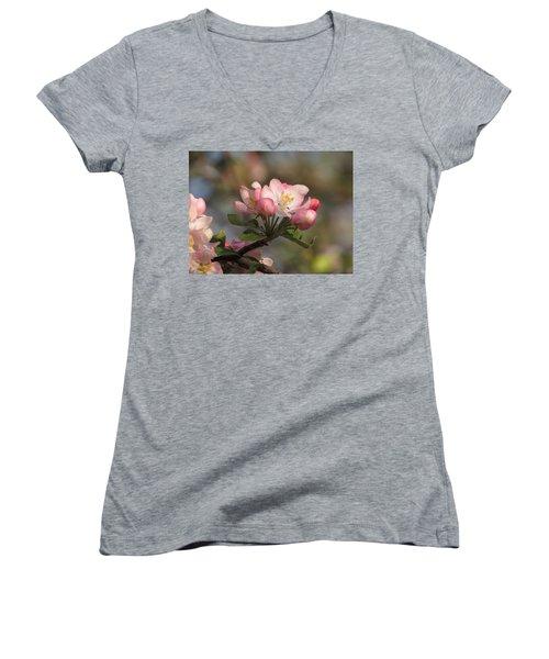 Blooming Women's V-Neck T-Shirt (Junior Cut) by Kimberly Mackowski