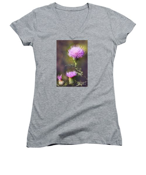 Blooming Thistle Women's V-Neck (Athletic Fit)