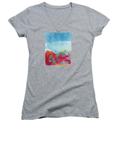 Blooms Women's V-Neck T-Shirt (Junior Cut) by Shelley Overton
