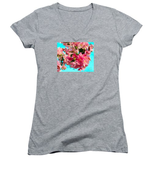 Blossoms And Bees Women's V-Neck (Athletic Fit)