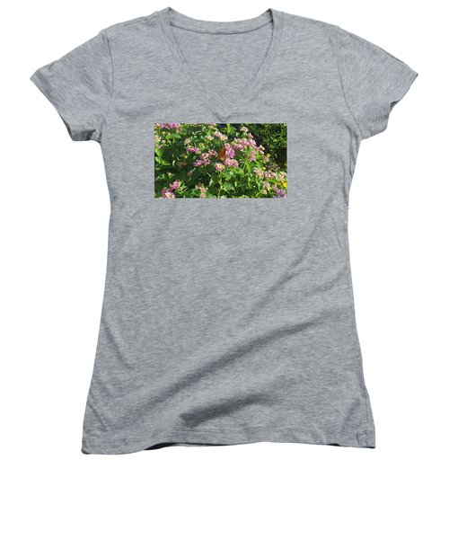 Blossoms And Wings #2 Women's V-Neck T-Shirt (Junior Cut) by Rachel Hannah