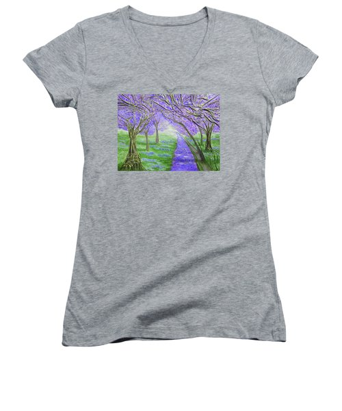 Women's V-Neck T-Shirt (Junior Cut) featuring the mixed media Blossoms by Angela Stout