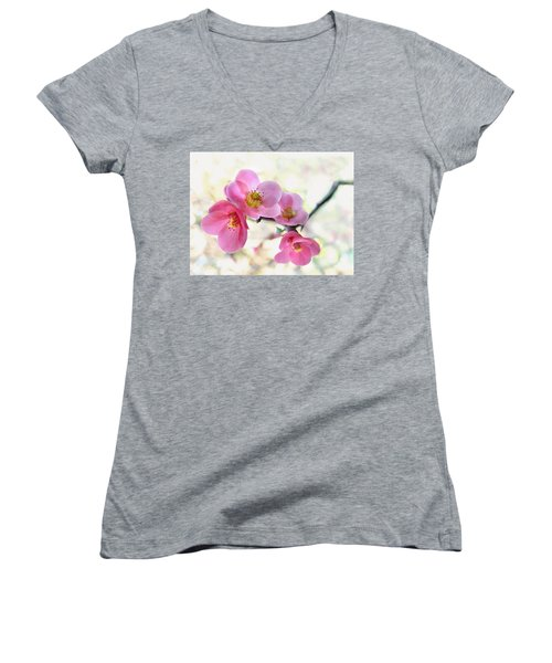 Women's V-Neck T-Shirt (Junior Cut) featuring the photograph Blossoms by Marion Cullen