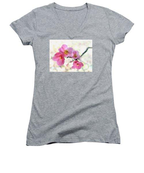 Blossoms Women's V-Neck T-Shirt (Junior Cut) by Marion Cullen